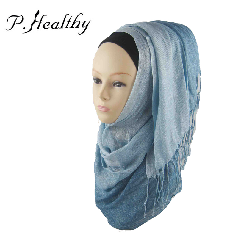 Women Hijab 2016 New Brand Cotton Gradient 14 Colors Silver Glitter Muslim Headscarves Islamic Clothing For Women ch009 z20(China (Mainland))