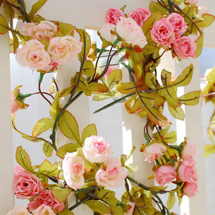 Wedding decoration flower vine Air conditioning pipe decoration Little rose vines artificial roses Hanging basket flower t3(China (Mainland))
