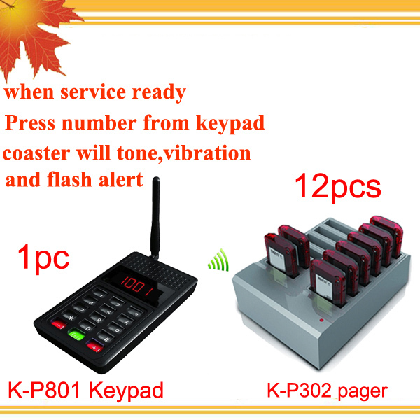 K-P801 One Keypad and 12pcs Pager Factory Price Pizza Shop Wireless Paging System(China (Mainland))