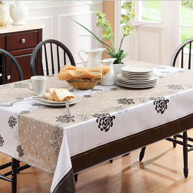 dining table cover transparent pvc tablecloth yellow