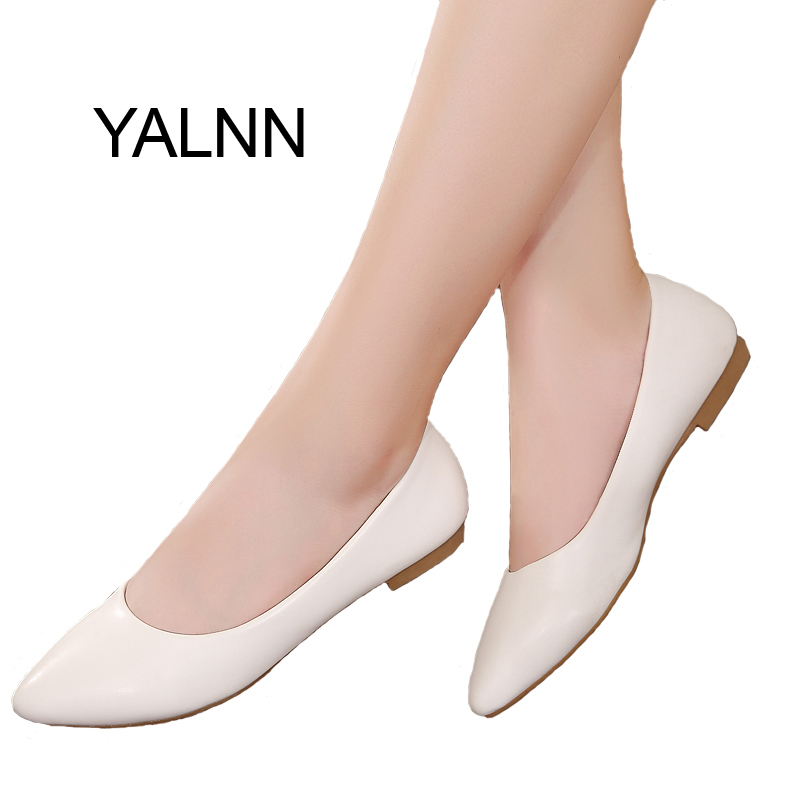Women Shoes Flat 2017 New Leather Platform Heels Shoes White Women Pointed Toe Leather Girl Shoes(China (Mainland))