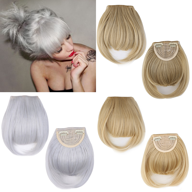 Fashion Lady Silver Gray Forehead Neat Bangs Fringe 2clips in on Hairpiece Clip-in Hair Extensions 100% Real Natural False Hair(China (Mainland))