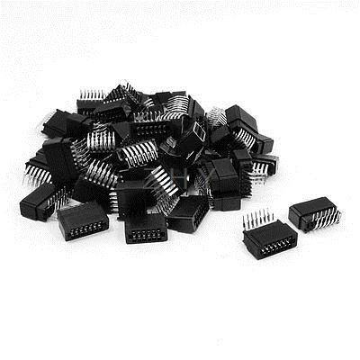 50 Pcs 2.54mm Pitch Double Row 90 Degree Angle PCB IDC Pin Headers 14 Pins<br><br>Aliexpress