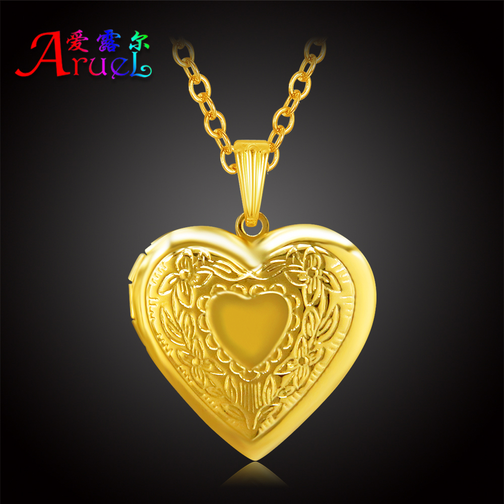 fashion 18k gold plated heart classic photo simple couples pendant necklaces women girl romantic locket charm popular jewelrys(China (Mainland))