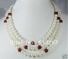 hot free Shipping new 2014 Fashion Style diy 3 Row 7-8mm White Freshwater Pearl & Red Jade Necklace MY5214(China (Mainland))