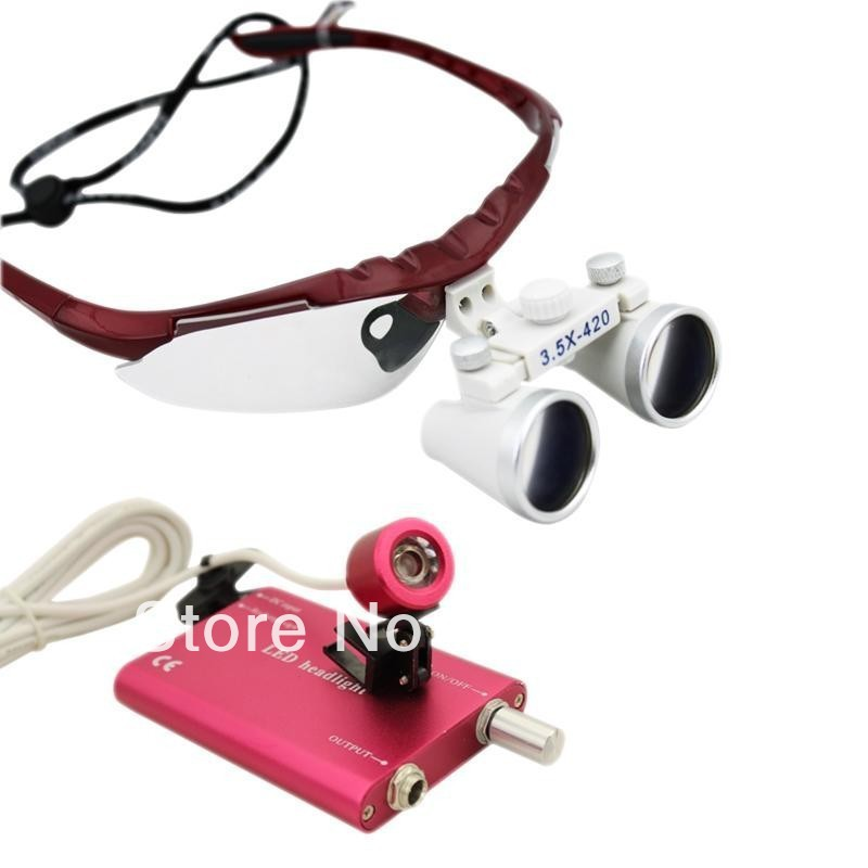 LED HeadLight Lamp + 3.5x420 Surgical Medical Binocular Loupes red<br>