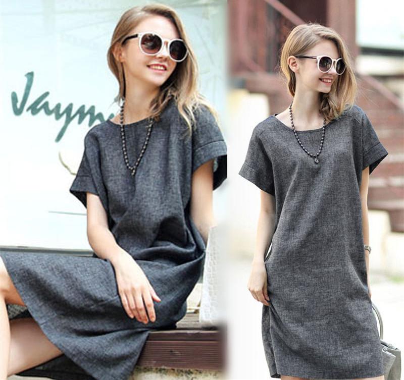 Womens summer dresses  2015 Summer new arrival  Fashion Short-sleeve Medium-long Plus Size women Clothing One-piece dress S-3XL(China (Mainland))