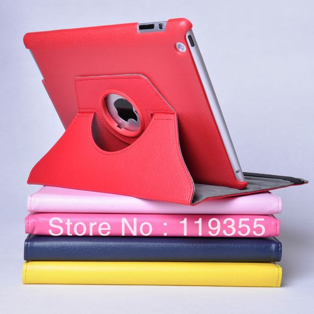 on sale now factory best price Magnetic Smart Cover leather Case for ipad 2 for Ipad3 for ipad 4with 360 Degrees Rotating Stand