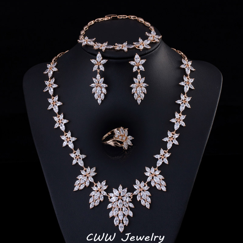 Gold Plated Indian Women Jewelry CZ Created Diamond Big Drop Leaf Necklace Earrings Bracelet Ring Set Wedding T232 - cwwzircons Jewellry Store store