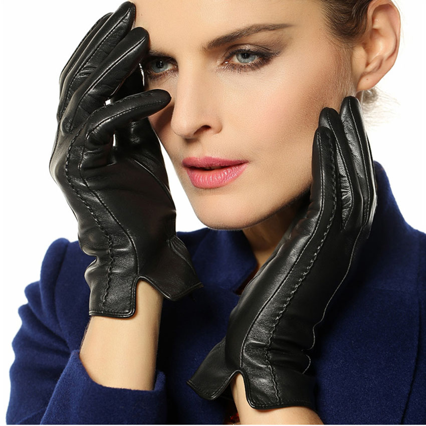 Fashion Sheepskin Gloves Womens Winter Warm Thickening Wrist Real Genuine Leather Multicolor Driving Glove Free Shipping L085nc(China (Mainland))