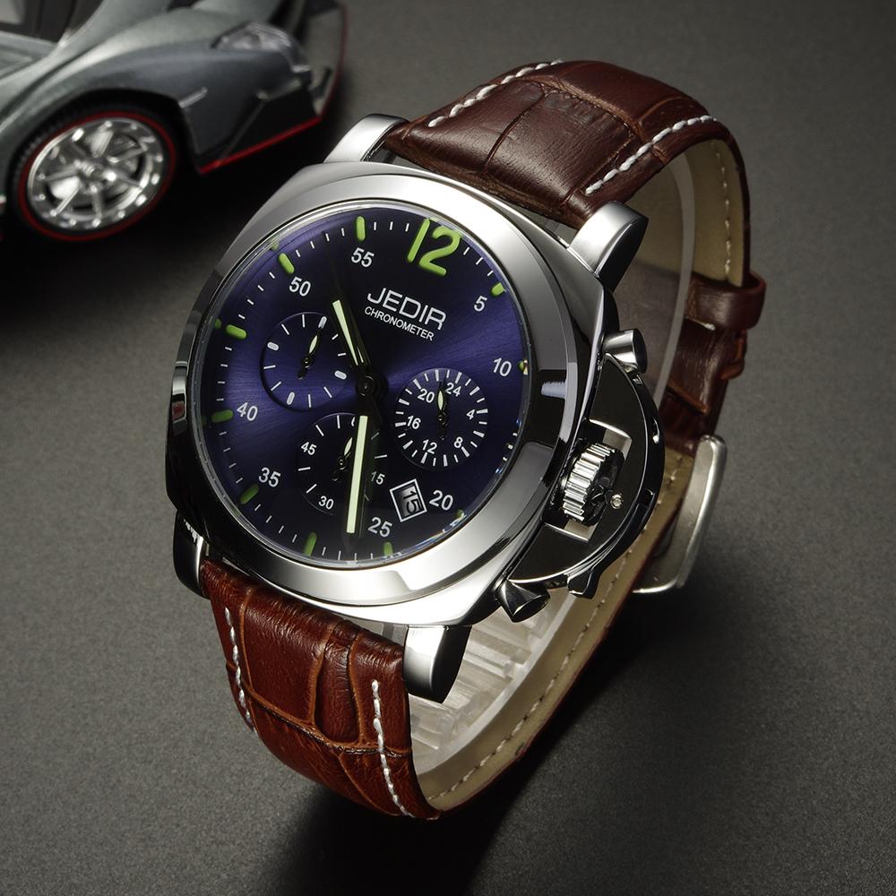 JEDIR Men Casual Watch Genuine Leather Luxury Men Watches Quartz Wristwatch CHRONOGRAPH &amp; 24 hours Function Sport Watch Relogio<br><br>Aliexpress
