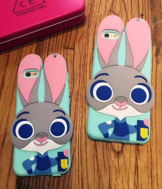 New fashion Zootopia Cute 3D Funny Rabbit for Iphone6/6 s following 6 plus soft silicone for mobile protection shell phone case