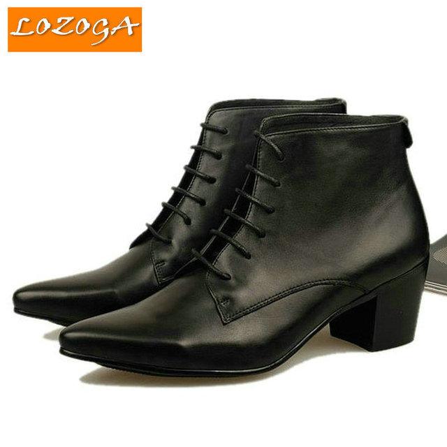 Мужская мода обувь сапоги из натуральной кожи острым носом сапоги повседневная Кружево-up ...
