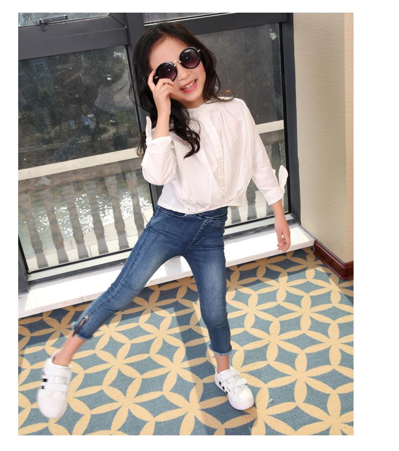 Primary and Middle School Students Girls  Korean New Shirts Long Sleeved Striped Kids Clothing Cotton White Blue