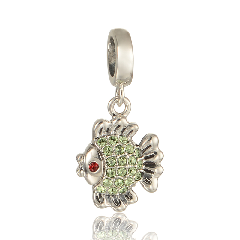 925 sterling silver jewelry cute fish pave green crystal for Pandora fish charm