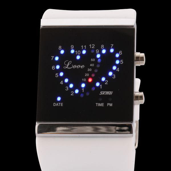 Double Heart LED Digital Watch Support 31 Super Bright LED Light White(China (Mainland))