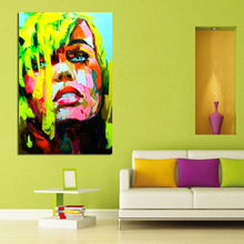 Buy Handpainted Modern Abstract Portrait Pictures Oil Paintings High Art Colorful Wall Pictures Fashion Girl Home Decor for $19.38 in AliExpress store