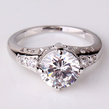 Mother s 2015 New Fashion 18K Gold Plated White Crystal CZ Engagement Ring Jewelry Wedding Rings