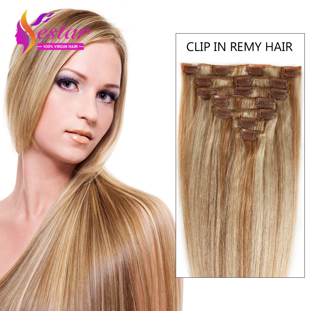 18 Color Available Indian Hair Clip In Human Hair Extensions 7pcs Full Head Set Human Hair Clips Aplique Tic Tac Cabelo Humano