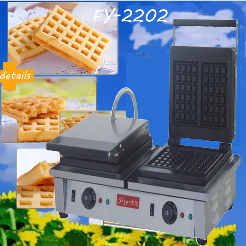 Free DHL 1PC Electric double-end waffle machine,commercial square waffle machine,waffle grill/ waffle oven/ Snack machine(China (Mainland))