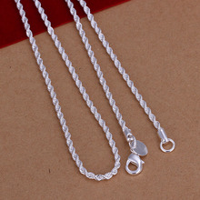 Free Shipping Wholesale 925 Silver Necklaces Pendants 925 Silver Fashion Jewelry 2MM 16 24inch Twisted Rope