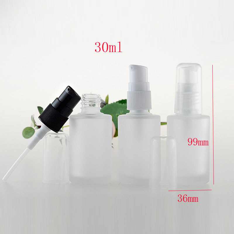 30ml empty round frosted lotion bottles, 1oz refillable cosmetic glass containers with pump eyecream lotion cream glass bottles(China (Mainland))
