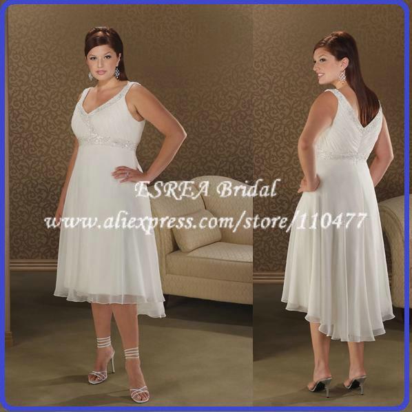 Semi formal empire chiffon tea length plus size short for Semi formal wedding dresses plus size