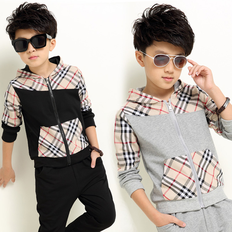 2016 New Autumn Kids Boys Clothes 2 Piece Sets Patchwork font b Plaid b font Cotton