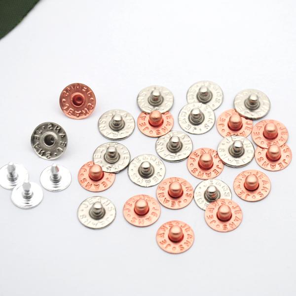 400 jogos/pacote 9.5mm de bronze do vestuário botões jeans rebites rebites do parafuso prisioneiro do prego alum níquel/cobre para o bolso das calças de brim ZD-023(China (Mainland))