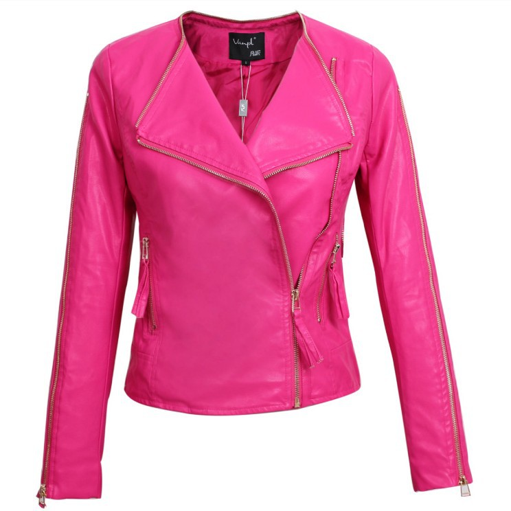 Pink Leather Jacket - Coat Nj