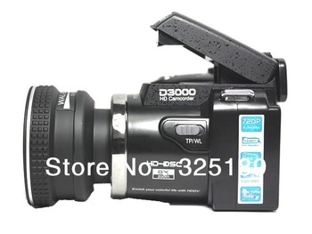"D3000 DSLR Camera 16MP 12X Digital Zoom single lens reflect Telephoto Lens,3.0""LCD+Russian Languages,Free Shipping"