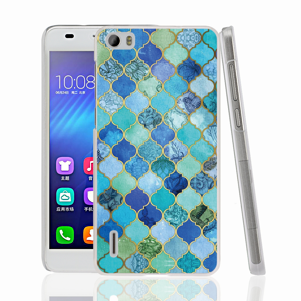 18094 Cobalt Blue Aqua Gold Decorative Moroccan cell phone Cover Case for huawei honor 3C 4A 4X 4C 5X 6 7(China (Mainland))