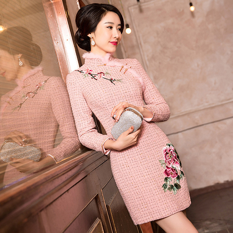 Free Shipping New Arrival Pink Chinese Traditional Womens Embroider Mini Cheong-sam Dress S M L XL XXLОдежда и ак�е��уары<br><br><br>Aliexpress