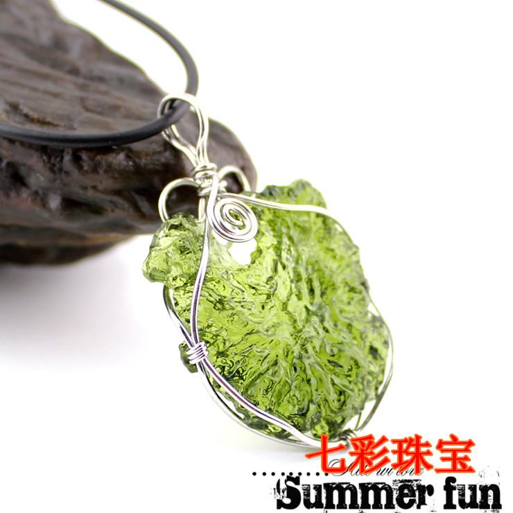 Aa natural moldavite green , aerolites , crystal stone pendant energy apotropaic Natural moldavite pendant moldavite(China (Mainland))