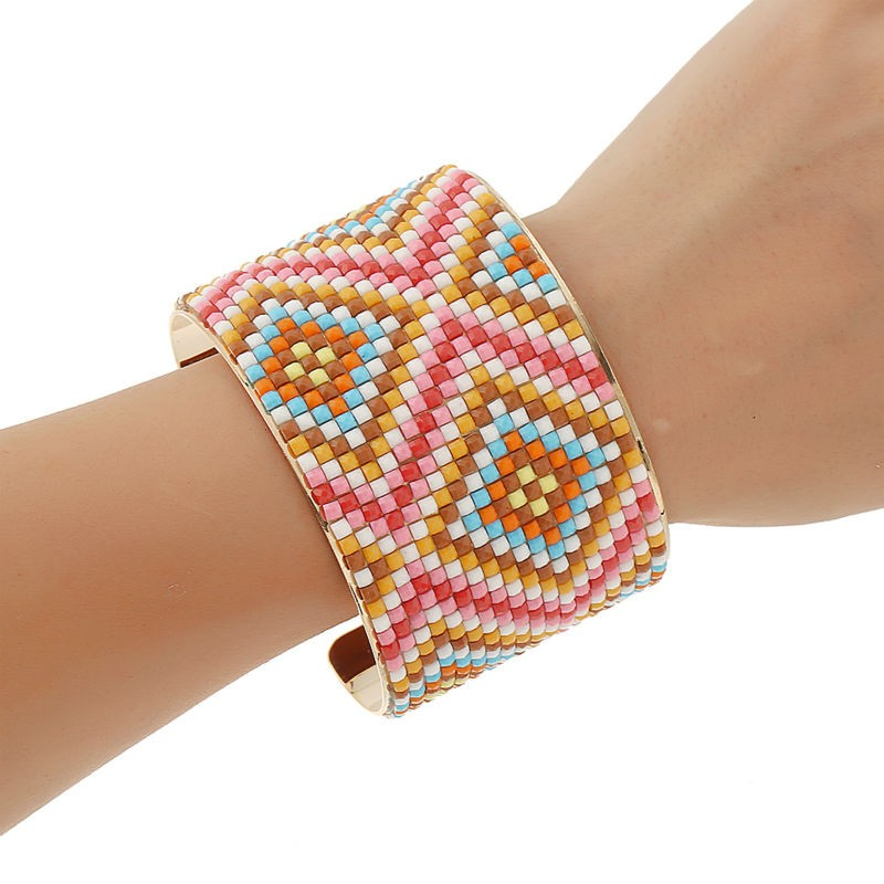 Trend Jewellery Full Colourful Resin Beads Attraction Bangle Rhinestone Crystal Patch Geometry Sample Gold Plated Bracelet Bangles