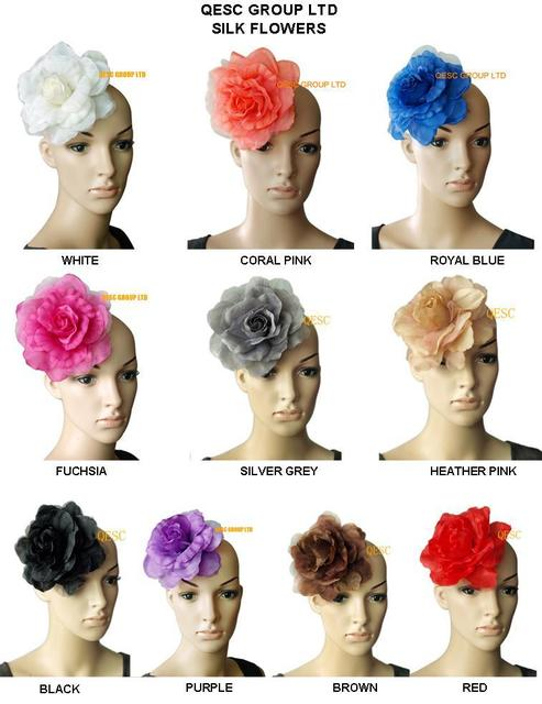 13 colors can pick. 16cm silk flower for millinery,fascinator and hair accessory,with brooch pin hair clip.