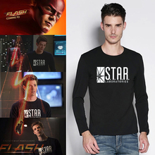 American Anime The Flash Star Lab Print Men Long Sleeved T-shirt Casual Boy Street Combed Cotton Black Tshirt S – 2XL Superhero