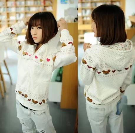 2014 Hot Selling,,Korea Students's Hoodie,Thick Long Sleeve Cardigans,Fleece Heart Sweatshirt,(S-L),Best Quality - Cow's love store