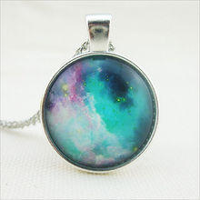 fashion jewelry Glass Art Space Galaxy Pendant Blue Galaxy Space Chain Necklaces Pendants for women men