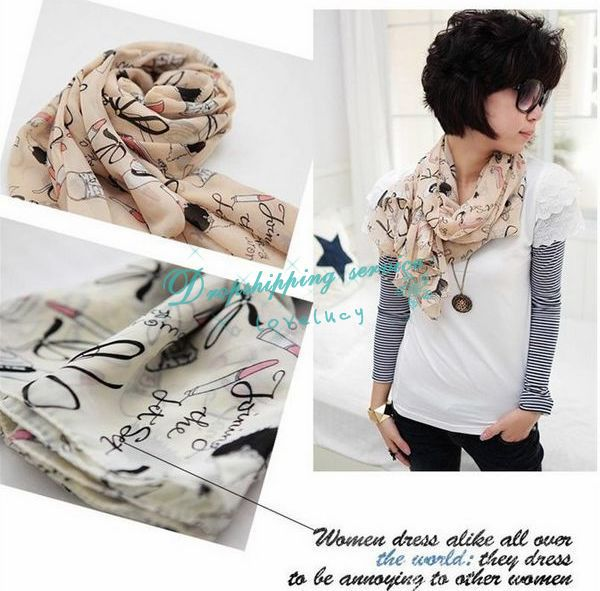 Beautiful fashion female lipstick and high heels patterned scarf shawl scarf Hot Drop Shipping/Free Shipping Wholesale(China (Mainland))