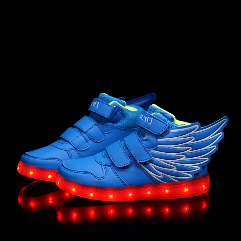 Charged Childrens Sneakers Shoes Wholesale Version Of Luminous Flashes LED Lights Flash Kids Shoes Outdoors Wings Shoes<br><br>Aliexpress