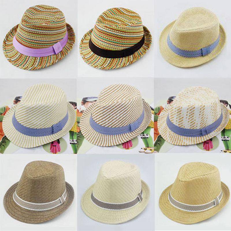 Retail Mixed 9 design New Baby Fedora Hat Children Summer Sun Cap Kids Fedoras Boys Girls Straw Jazz Cap FH009(China (Mainland))