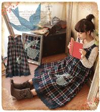 Fashion Mori Girl Kawaii Lolita Fresh Preppy Style Vintage Brief Cotton Patchwork Lace A Line Plaid