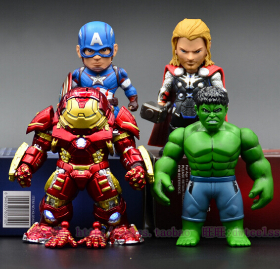 NEW hot 18cm Q version avengers hulk thor Captain light Iron man Mark 43 Hulkbuster action figure toys Christmas toy with box<br><br>Aliexpress