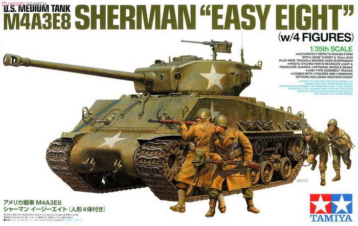 Tamiya Model 25175 1/35 U.S. Medium tank M4A3E8 Sherman Easy Eight w/4 figures plastic model kit(China (Mainland))