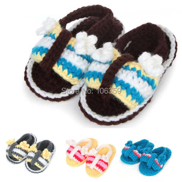 Baby Shoes Crochet Pattern Baby Boy Summer Shoes Knitted Flip Flops for Babies Newborn Slippers 5 Pairs XZ036(China (Mainland))