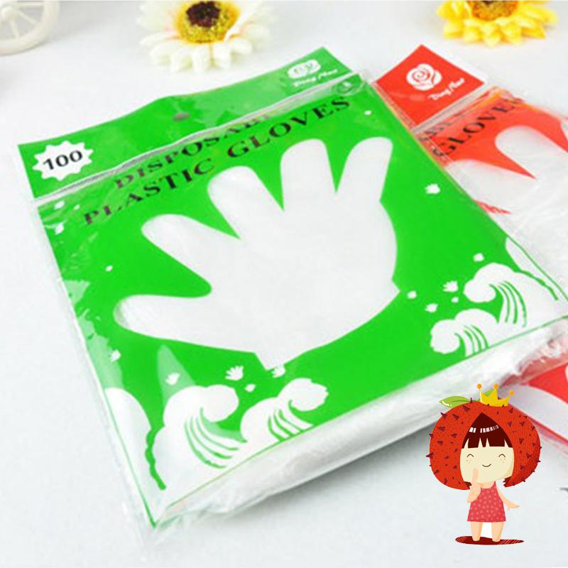 10pcs Disposable gloves pe film gloves food sanitary gloves transparent gloves 100(China (Mainland))