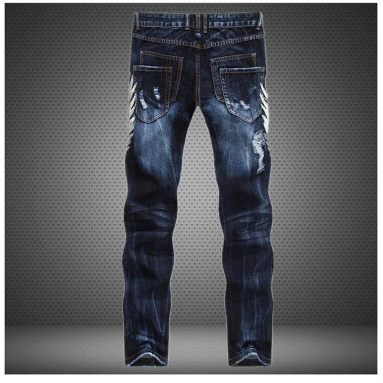 Скидки на #2701 Проблемные джинсы Лоскутное Прямые Тонкие Мужские узкие джинсы денима Рваные джинсы Моды для мужчин джинсы homme
