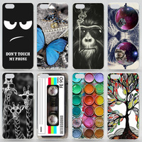 Case For iPhone 5C Transparent Coloured Drawing Phone Cover For iPhone 5c Plastic Hard Phone Cases