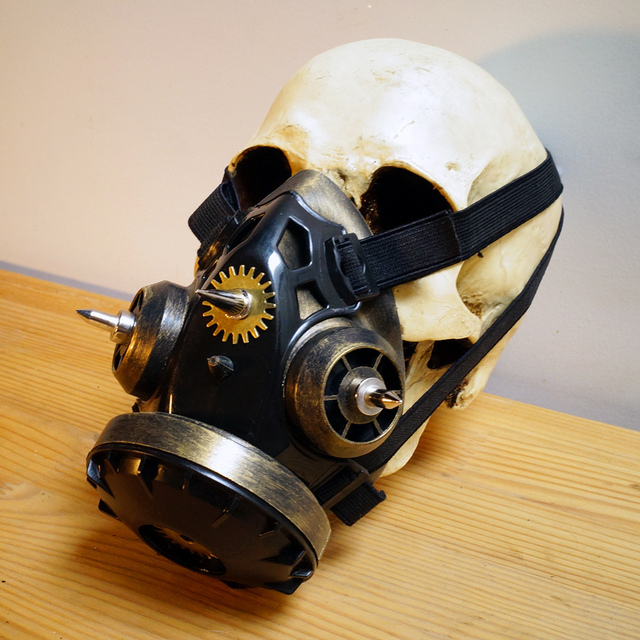 Steampunk Gothic Mask Goggles + Gas Respirator Mask